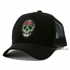 Sugar-Skull-Hat-Day-of-the-Dead-Pique-Snapback-Mesh-Baseball-Cap-Black