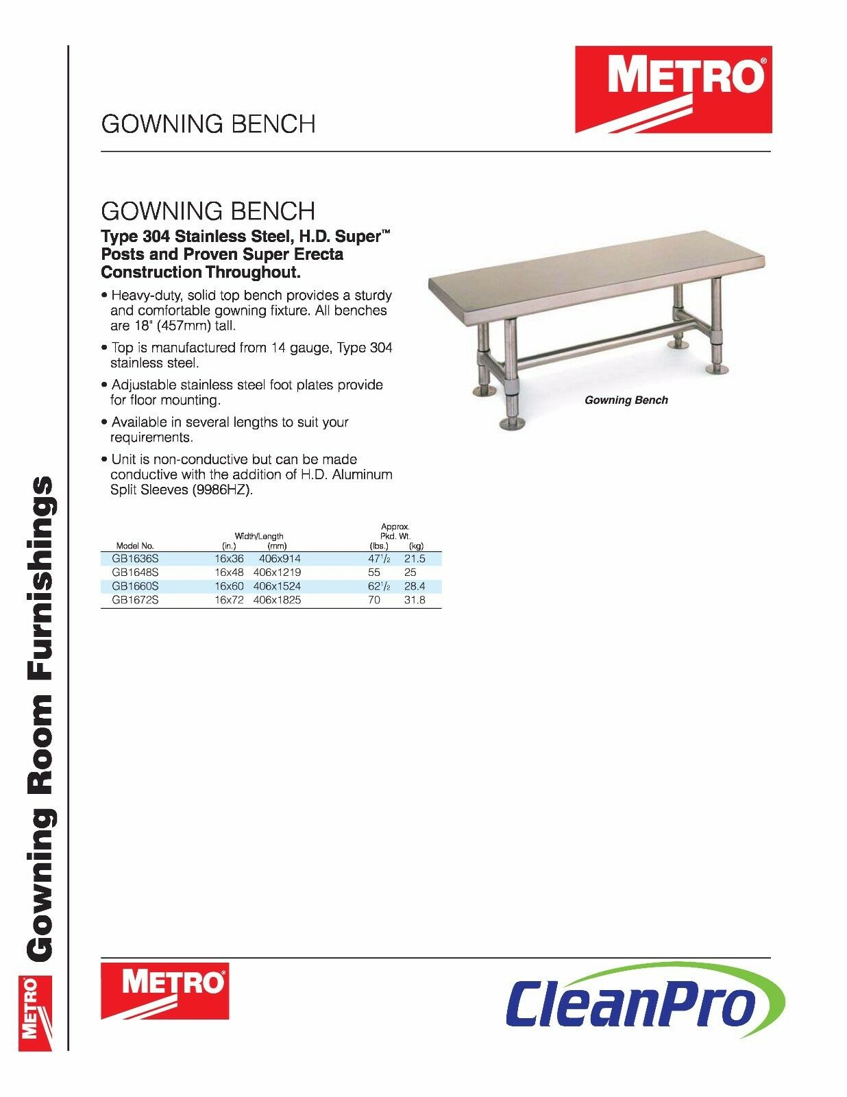 Metro GB1648S Cleanroom Gowning Bench 48 in | eBay