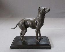 Antique BRONZE Miniature Statue on Slate Base DOZER Boxer Dog circa 1890 - 1910