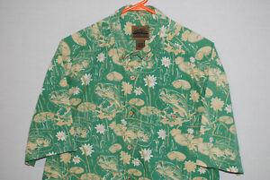 Flyshacker-Mens-Short-Sleeve-Button-Front-Shirt-Green-Fishing-Fish-Size-M-GUC