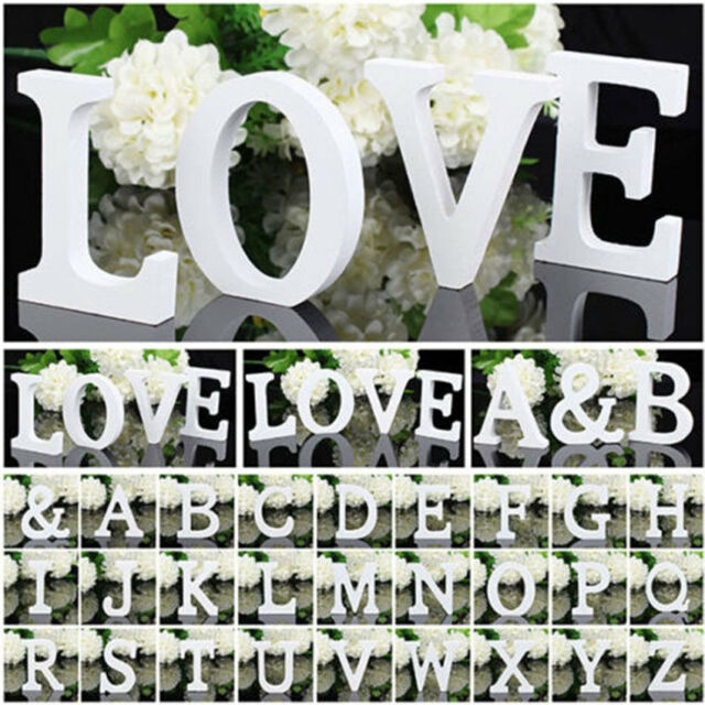 New Free Standing Wood Wooden Letters White Alphabet Wedding Party Brithday