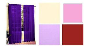 COLOUR MATCH  SLOT / TAB TOP VOILE CURTAIN PANEL NET purple red cream 60 x 90