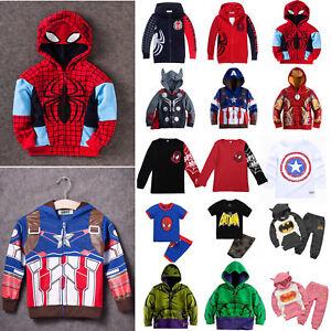 Kid-Toddler-Boys-Girls-Superhero-Hoodie-Coat-Sweatshirt-T-Shirt-2Pcs-Outfits-Set
