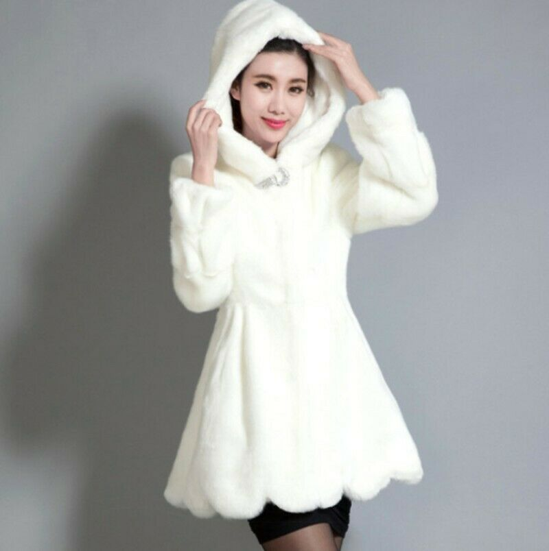 Winter Warm Faux Fur Hooded Parka Button Womens New Thicken Causal Jacket Coat L