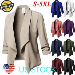 Women-Slim-OL-Suit-Casual-Blazer-Jacket-Coat-Tops-Outwear-Long-Sleeve-Plus-Size