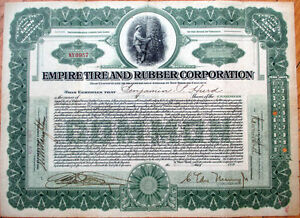 1917-Stock-Certificate-039-Empire-Tire-amp-Rubber-Corporation-039-Virginia-VA
