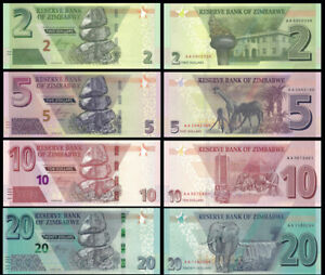 Zimbabwe-SET-4-Pcs-2-5-10-amp-20-Dollars-2019-2020-NEW-UNC