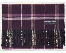 100% Cashmere Scarf Purple White Check Tartan Flannel Plaid SCOTLAND Wool H28