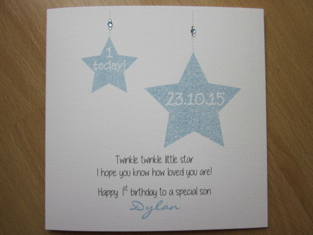 Personalised Handmade Boys 1st First Birthday Card With Twinkle