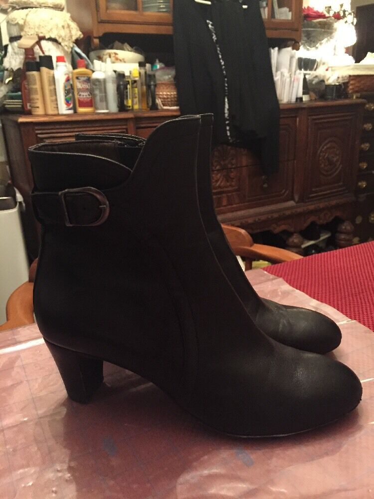 AGL Women's Black Leather Upper Lining Sole Ankle Boots Size 38 N (EUR) 7.5 (US)