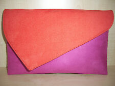 OVER SIZED BURNT ORANGE & FUCHSIA PINK faux suede clutch bag, fully lined BN