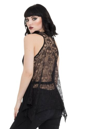 Jawbreaker Black Ouija Board Occult Lace Back Loose Fit Vest Top Goth Witch 8-18