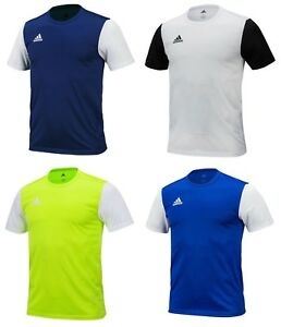 0383b1469364d Adidas Men ESTRO 19 Shirts S S Soccer Jersey White Navy Climalite ...