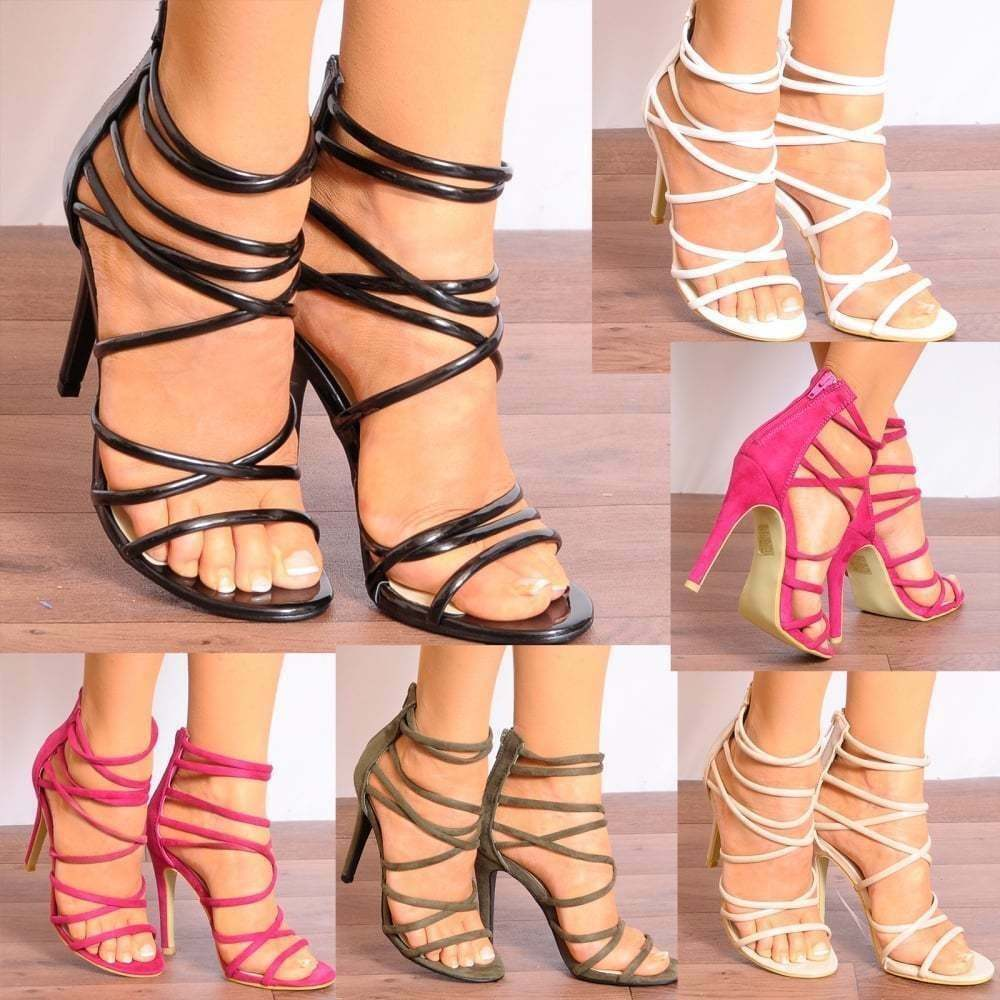 LADIES PARTY STRAPPY OPEN TOE STILETTO PARTY LADIES PLATFORMS HIGH HEELS SHOES SIZE 15e999