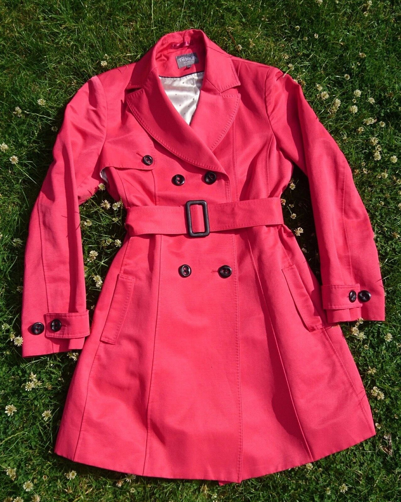 BNWOT TM Lewin Woman Carolyn belted red trench coat (size L)