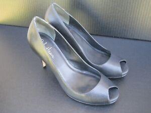 Cole-Haan-Women-039-s-Black-Pebbled-Leather-Open-Toe-Heel-Pumps-Size-9-5-B