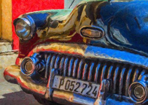 CLASSIC CAR CUBA PAINTING A3 ART PRINT PHOTO POSTER YF6017