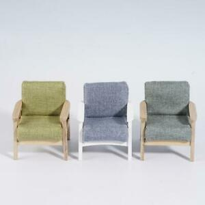 1-12-Dollhouse-Miniature-Furniture-Wood-Single-Sofa-Chair-Green-Grey-Couch-Model