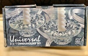 Vintage-Clear-Glass-Candle-Holder-marked-Malaysia-Candle-Holders-Set-of-2
