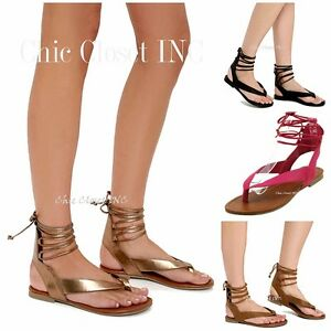 Details about Women Ankle Strap Thong Lace Up Gladiator Sandals Low Flat Heels Booties Shoes