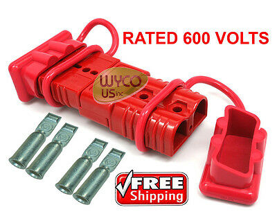 600 VOLT WINCH QUICK CONNECTOR PLUGS,DISCONNECT PLUGS FOR 1AWG WIRE, DUST COVERS