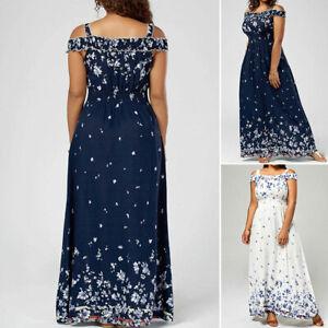 Women-S-5XL-Plus-Size-Bohemian-Boho-Dress-Long-Party-Maxi-Floral-Chiffon-Casual