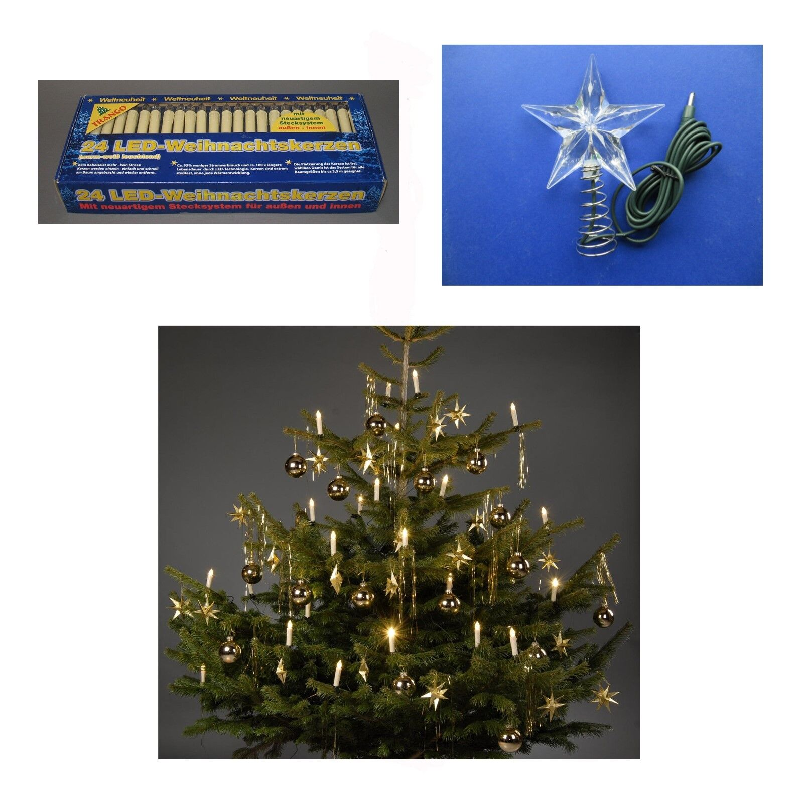 2x 24 Led Catena Luci Natale Stelle Candele per Alberi a Nuovo