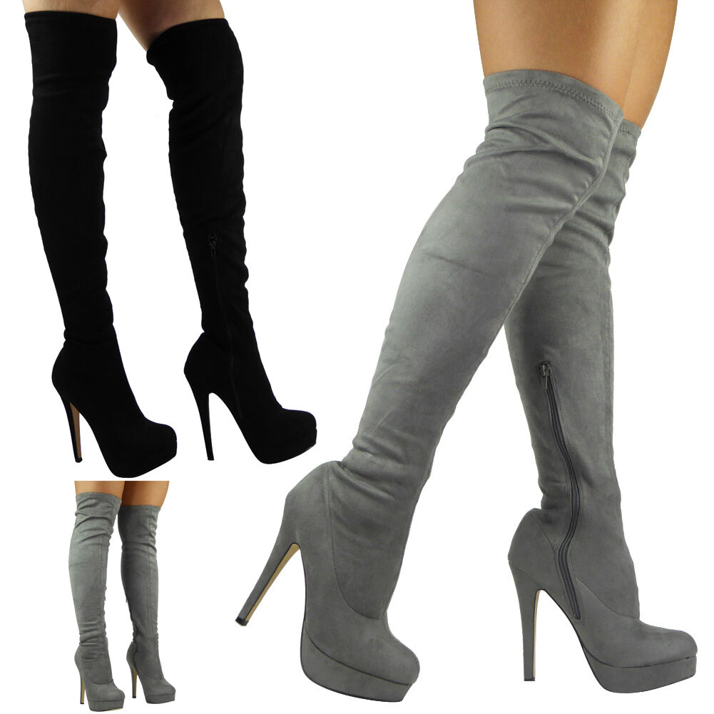 WOMENS LADIES THIGH HIGH OVER THE KNEE BOOTS PLATFORM STILETTO HEEL SHOES SIZE