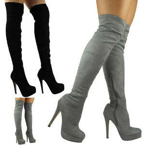 Womens Laides Thigh High Over The Knee Boots Platform Stiletto Heel Shoes Size