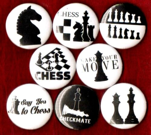 """CHESS 8 NEW 1/"""" button pins badge checkmate life forum game king stocking stuffer"""