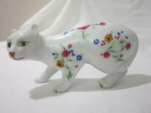 Cat-Figurine-Franklin-Mint-Faience-Crouching-Green-Eyed-China-Floral-Pattern