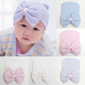1X-Newborn-Baby-Infant-Girl-Toddler-Comfy-Bowknot-Hospital-Cap-Beanie-Hat-YD