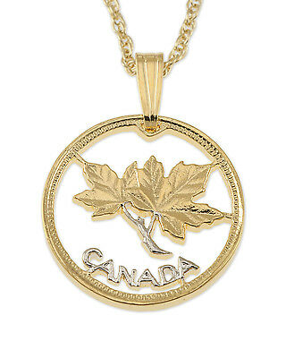 """Canada Maple Leaf One Cent Pendant Necklace Hand cut - 5/8"""" dia. ( # 762 )"""