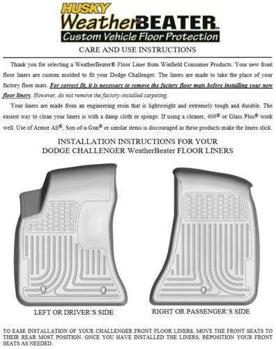 Husky Liners Black Car Floor Mat Rubber Carpet For Dodge 2016-2017 Challenger