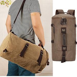 1047e6228 Men's Vintage Canvas Leather Hiking Travel Cylinder Messenger Tote ...