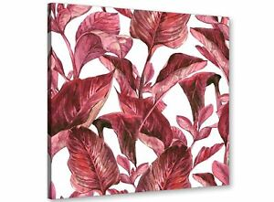 Image is loading Dark-Burgundy-Red-White-Tropical-Leaves-Canvas-Wall-  sc 1 st  eBay & Dark Burgundy Red White Tropical Leaves Canvas Wall Art - 49cm ...