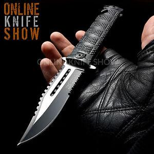 TAC FORCE Black Spring Assisted Open SAWBACK BOWIE Tactical Rescue Pocket Knife