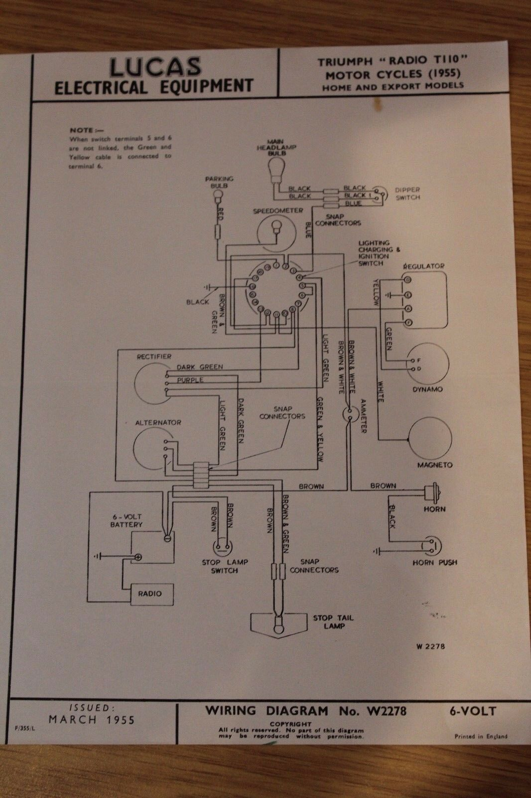 Triumph Radio T110 1955 Lucas Electrical Equipment Original Wiring 6 Volt Battery Diagram Norton Secured Powered By Verisign