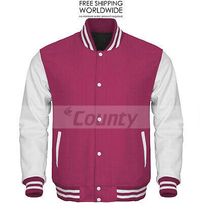 Bomber Varsity Letterman Baseball Hoodie Jacket Red Body White Leather Sleeves