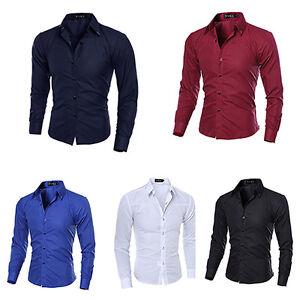 LC-HK-UOMO-MODA-a-righe-Business-Slim-Manica-Lunga-Casuale-Camicia-S