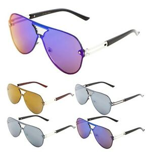 23d60a8b3aa RIMLESS OVERSIZED FLAT TOP ONE PIECE SHIELD ROUND AVIATOR SUNGLASSES ...