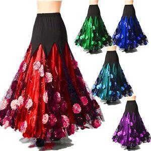 53da1952f896 Image is loading Women-Ballroom-Skirt-Modern-Dance-Floral-Dress-Waltz-