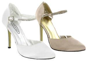 8 Femmes Haut Strass sur Escarpins Bride Mariage Détails Sandales 3 Cheville Fête UK Talon c45RLS3Ajq