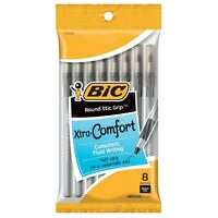 Bic Xtra-comfort Round Stic Grip Medium Point Ball Pen, Black 8 Ea (pack Of 6) on sale
