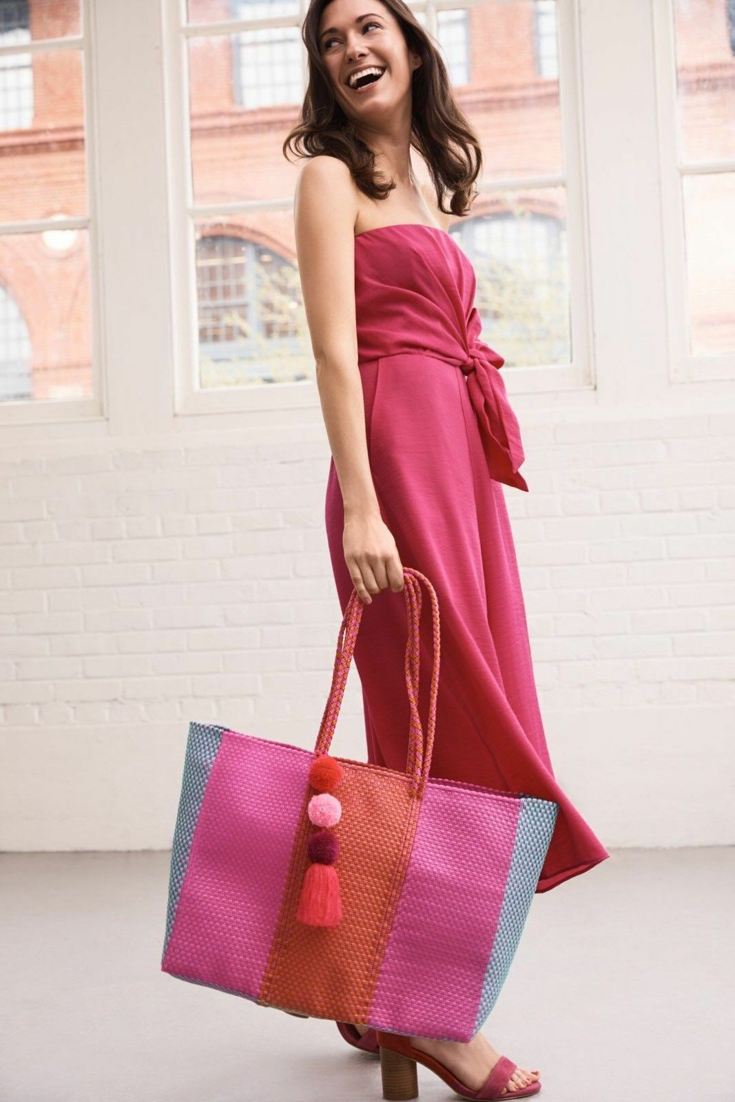 NEW ANTHROPOLOGIE  PINK STRAPLESS BRIN JUMPSUIT BY MAEVE SZ 14