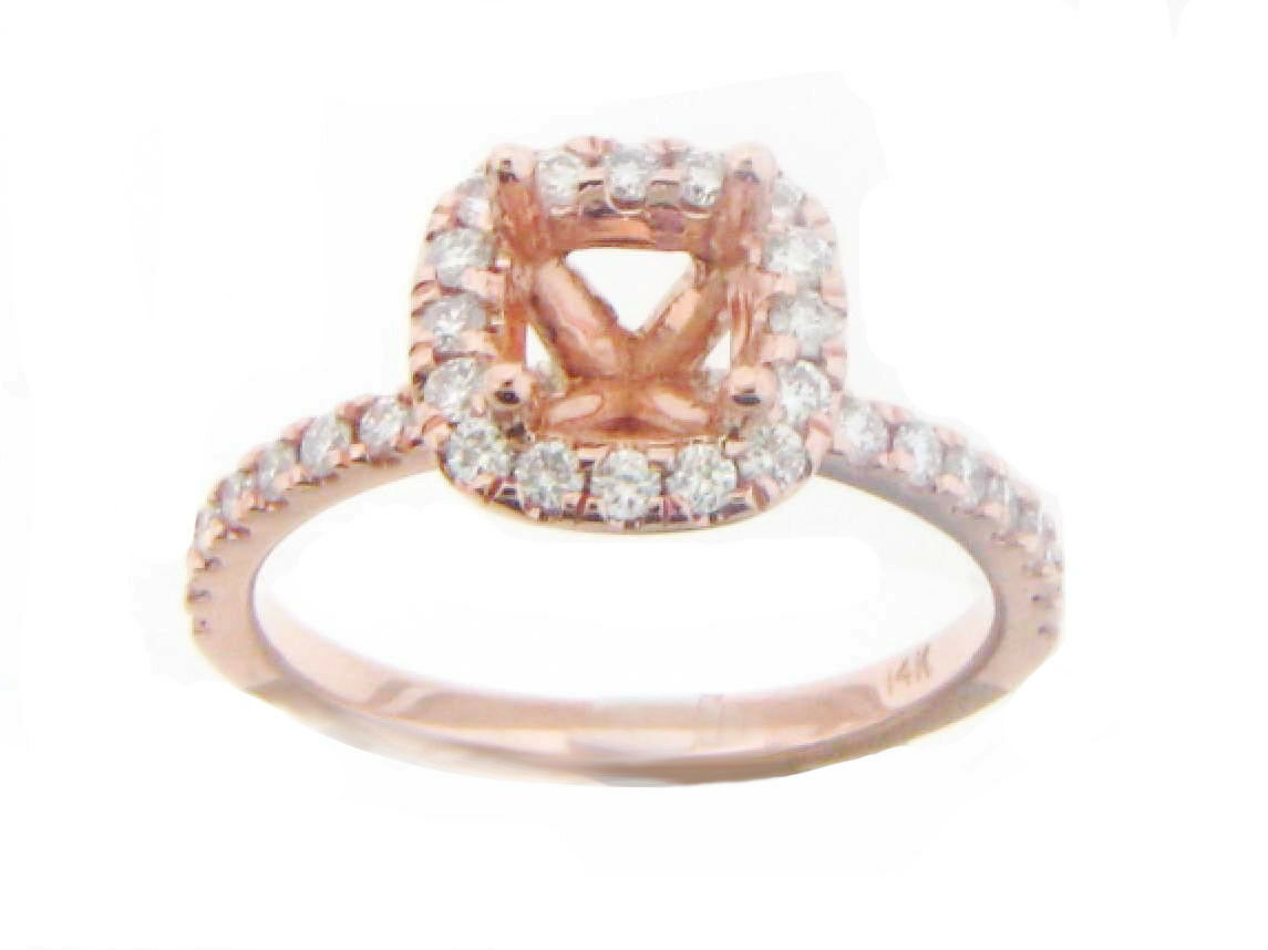 14k pink gold Semi Mount Diamond Halo Ring Setting 0.45 Cts. Cushion Cut