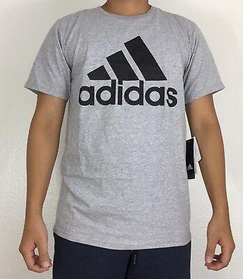 Adidas Men's Shirt Tee Badge of Sport Fill Card Gray Black CD7937 Size M