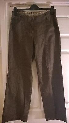 ** Donna Marrone New Look Casual Lino/cotone Pantaloni-taglia 10-nuovo **- Servizio Durevole
