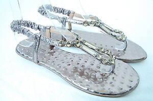 Women-039-s-Shiny-Gold-Square-Rhinestone-Flats-Sandals-Evening-Wedding-Party-Dress