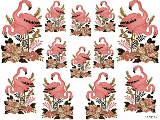 VinTaGe IMaGe PReTTY PinK FLaMinGoS SHaBbY WaTerSLiDe DeCALs